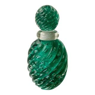 Vintage Mid Century Modern Murano Green Italian Glass Perfume Bottle For Sale