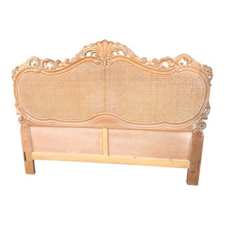 Italian Carved Wood Double Cane Queen Headboard For Sale