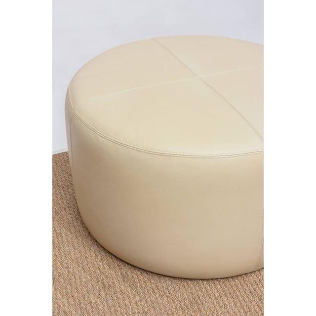 Leather Round Leather Ottoman For Sale - Image 7 of 9