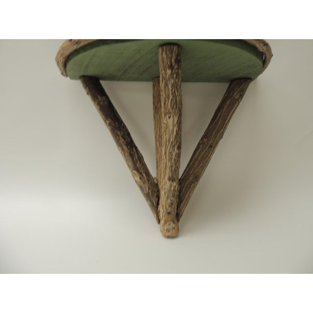 Boho Chic Rustic Willow Painted Green Garden Artisanal Wall Shelf/Bracket For Sale - Image 3 of 8