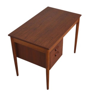 Early Danish Modern Compact Writing Desk in Teak by Borge Mogensen