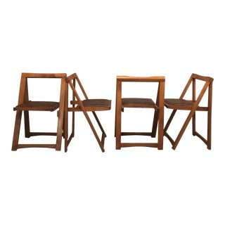 1960s Mid-Century Modern Brown Wood Folding Chairs - Set of 4