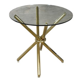 Vintage Modern Brass Plated Jax Center or End Table With Round Glass Top For Sale