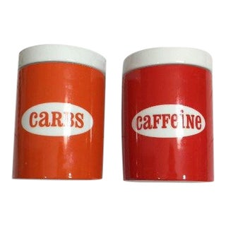 "Jonathan Adler ""Carbs"" and ""Caffeine"" Ceramic Canisters - a Pair For Sale"