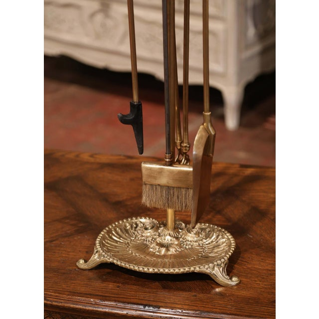 French 19th Century French Louis XV Bronze Fireplace Tool Set on Stand For Sale - Image 3 of 10