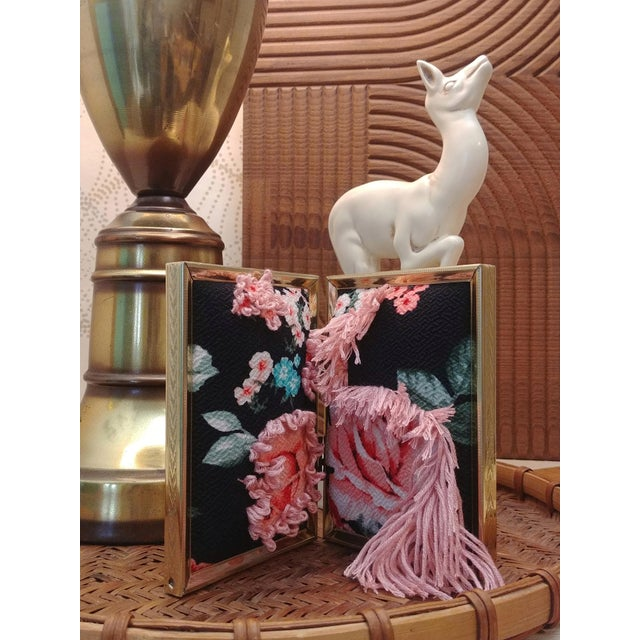 Contemporary floral fabric tapestry is an adorable small double crepe and floss tapestry in a vintage gold metal hinge...