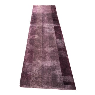 Geometric Purple Ground French Art Deco Runner Rug For Sale
