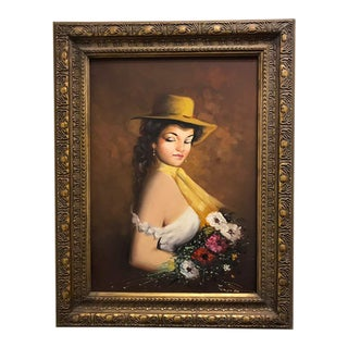 French Style Oil Painting With Gilded Frame