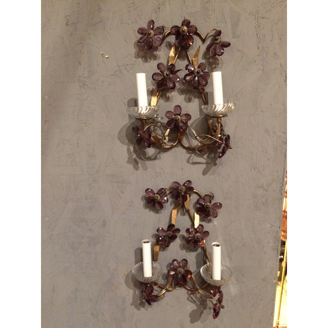 Italian Gilt Metal Wall Sconces with Amethyst Crystals - A Pair For Sale - Image 6 of 6