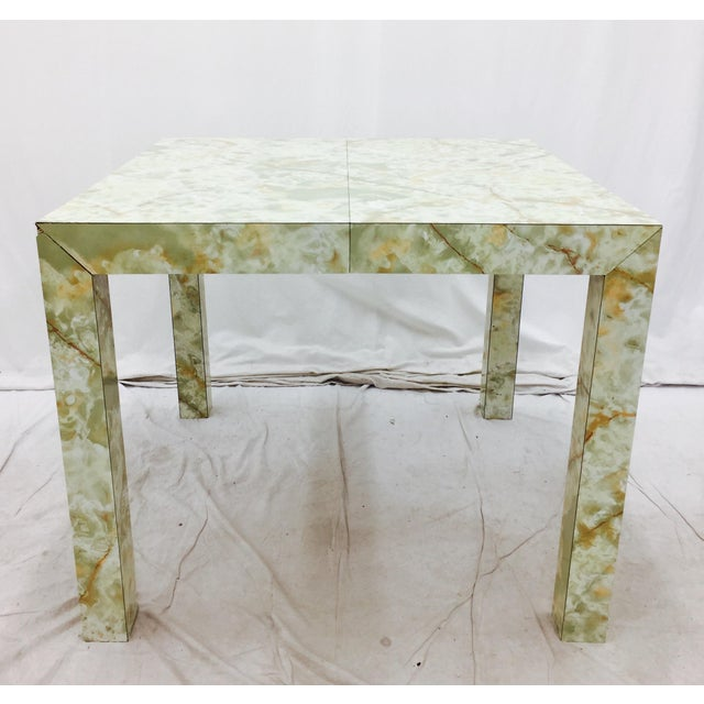 Vintage Mid-Century Modern Faux Marble Parsons Table For Sale - Image 4 of 9