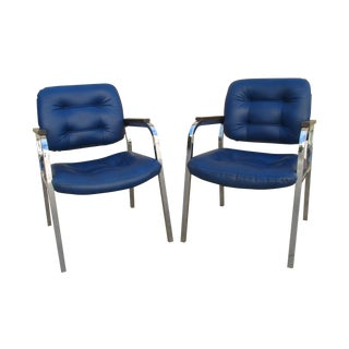 1960s Milo Baughman Style Chrome Chairs - A Pair