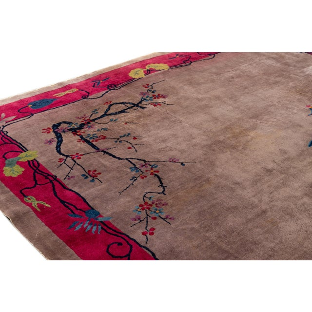 Vintage Purple Chinese Art Deco Wool Rug 9 Ft X 11 Ft 6 In. For Sale - Image 11 of 13