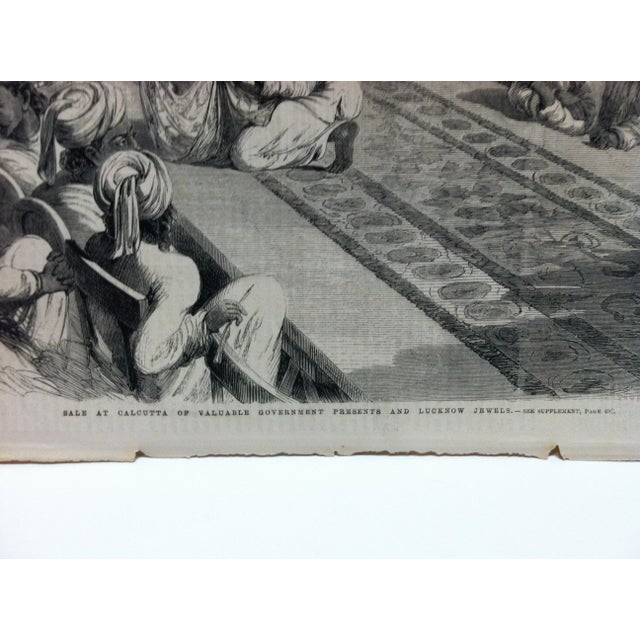 "English Traditional 1860 Antique Illustrated London News ""Sale of Calcutta of Valuable Government Presents and Lucknow Jewels"" Print For Sale - Image 3 of 5"