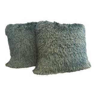 Loloi Blue Shag Pillows - A Pair