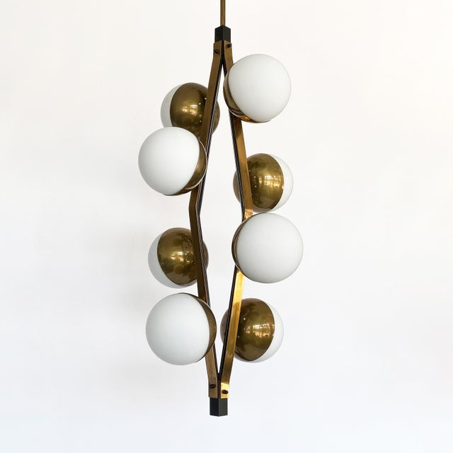 Metal Pair of Stilnovo Brass Eight Globe Pendant Chandeliers For Sale - Image 7 of 13