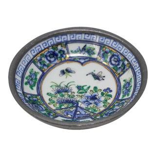 Vintage Blue and White Porcelain Bowl, Catchall Encased in Pewter For Sale