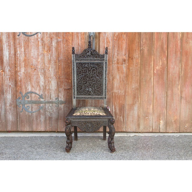 Anglo-Indian Intricate Carved Chair For Sale - Image 11 of 12