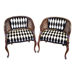 Vintage Hollywood Regency Cane Back Chairs - A Pair