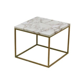 Brass and Marble Side Table Attributed to Paul McCobb For Sale