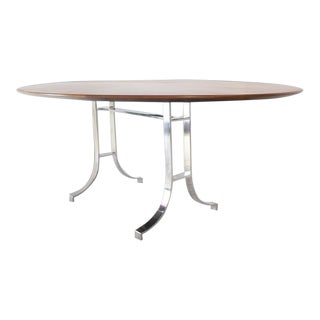 Early 20th Century American Oval Walnut Top Stainless Steel Base Dining Conference Table For Sale