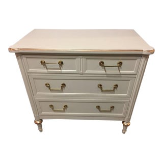 Jansen Style Parcel Paint & Gilt Decorated Commode Nightstand