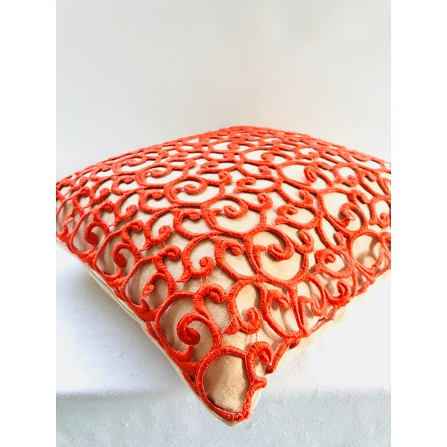 Dransfield & Ross Orange Lace Scroll on Linen Decorative Pillow For Sale In Miami - Image 6 of 13