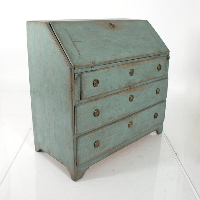 Rustic Blue-Painted Writing Desk For Sale - Image 3 of 4