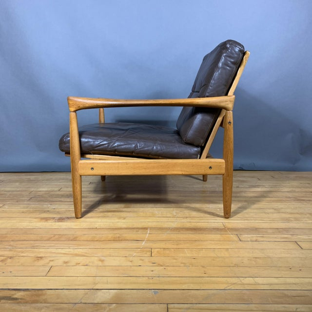 Pair Erik Wørts Solid Oak & Leather Lounge Chairs, Sweden 1960s For Sale - Image 9 of 12