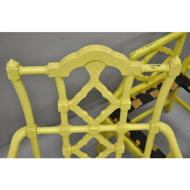 Paint Chinoiserie Hollywood Regency Yellow Fretwork Armchairs - a Pair For Sale - Image 7 of 11