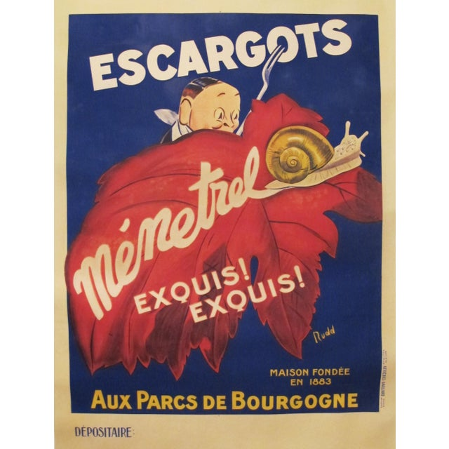 1930s French Vintage Food Poster, Escargots Menetrel - Image 4 of 4