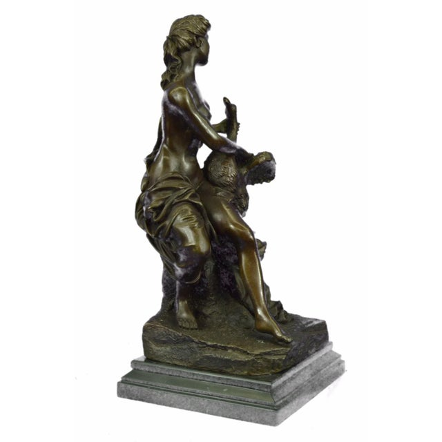 Nude Woman and Swan Statue on Marble Base Sculpture - Image 6 of 9