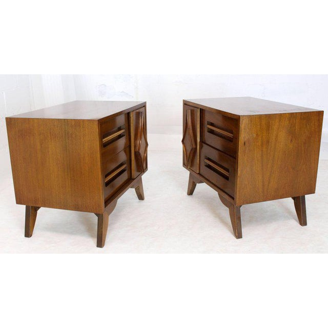 Brown Pair of Large Walnut Nightstands End Tables with Small Bookcase For Sale - Image 8 of 9