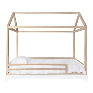 Nico & Yeye Domo Full Canopy Bed with Rails Made of Solid Maple For Sale