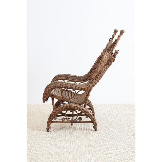 Late 19th century Victorian wicker platform rocker made by Heywood Brothers who eventually became the Heywood Wakefield...