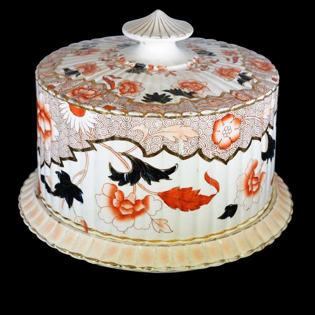 Victorian English Ceramic Cheese Dome With Printed and Hand Painted Decoration For Sale - Image 9 of 13