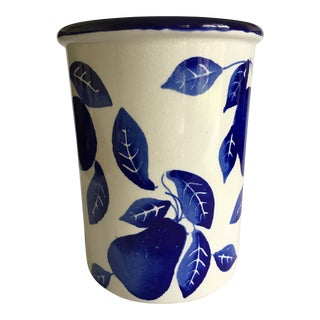 Ceramiche Alfa Italian Cobalt Blue & White Glaze Fruit Motif Ceramic Stoneware For Sale