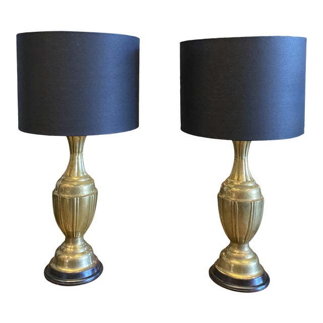 Mid-Century Modern Brass Lamps by Marbro Brass Lamps - Pair For Sale