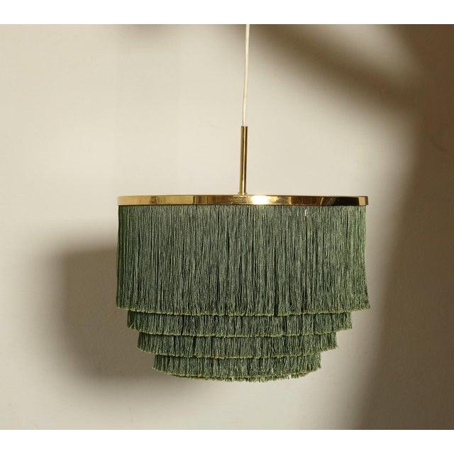 Brass Hans-Agne Jakobsson Green and Brass Fringe Ceiling / Pendant Lamp, Sweden, 1960s For Sale - Image 7 of 7