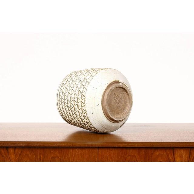 Danish Modern Modern Christian Boehr White Glaze Ceramic Stoneware Planter For Sale - Image 3 of 5