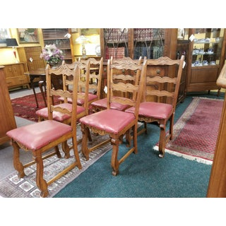 Vintage Oak and Red Leather Chairs - Set of 6 Preview