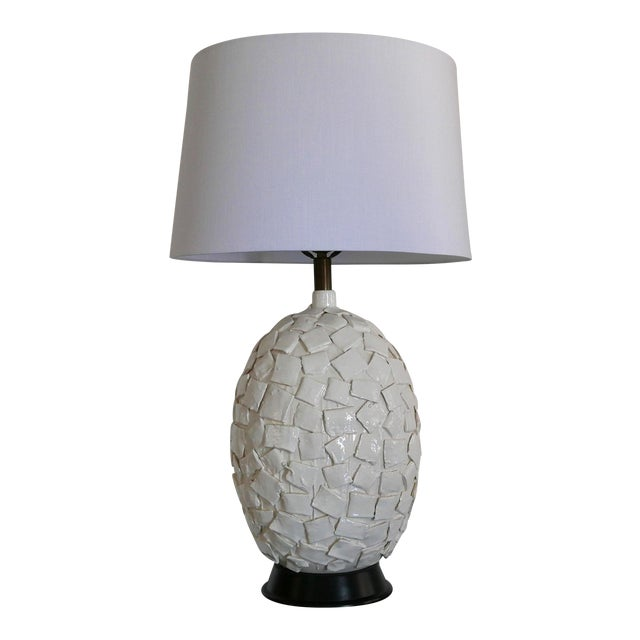 Ceramic Lamp With Applied Squares For Sale