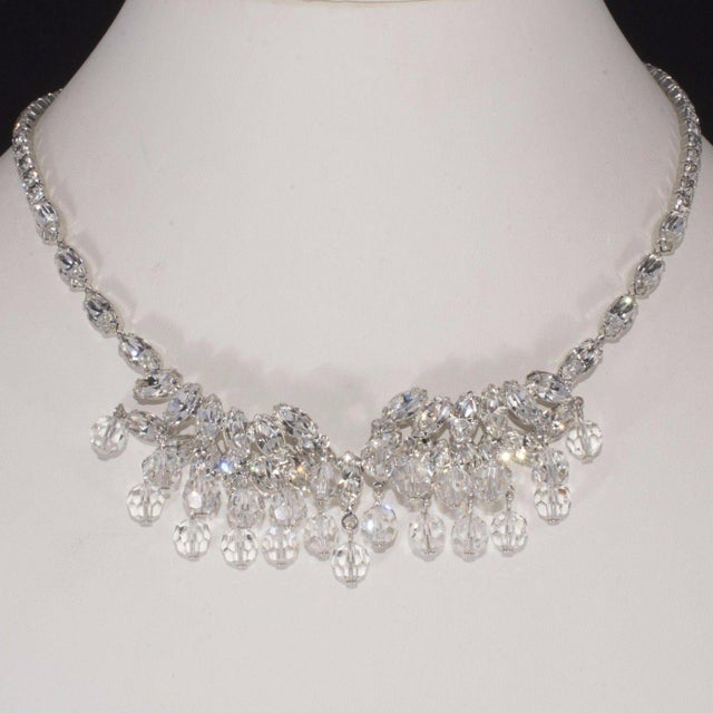 Weiss Weiss Necklace Clear Navette Marquis Rhinestones Bead Dangles Vintage 1950s For Sale - Image 4 of 5