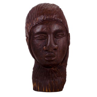 Antique African Ebony Primitive Carved Head