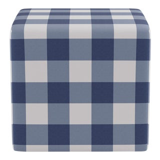 Cube Ottoman in French Blue Check For Sale