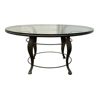 Contemporary Round Glass + Metal Coffee Table For Sale
