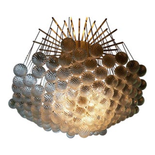 Impressive Brass and Murano Glass Bubble Chandelier For Sale