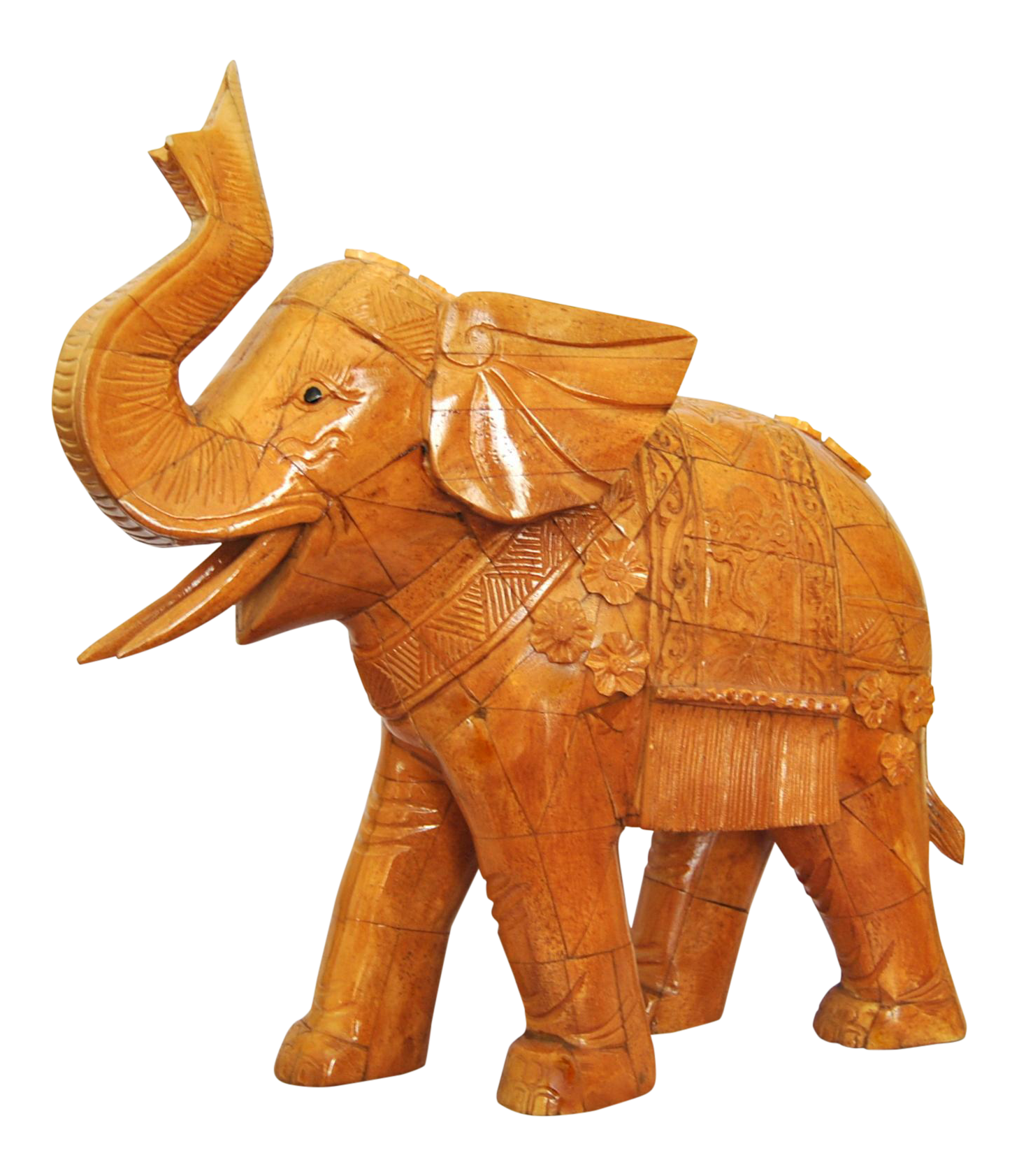 Chinese Ox Bone Carved Elephant Trunk Up Animal Sculpture Chairish