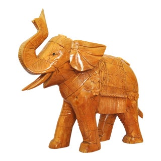 Chinese Ox Bone Carved Elephant, Trunk Up Animal Sculpture For Sale