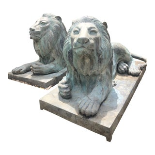 Antique Patinated Bronze Lying Lion Garden Statues- a Pair For Sale