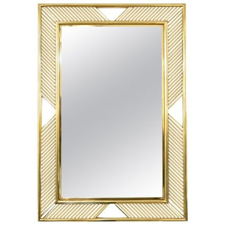 Contemporary Minimalist Italian Gold Brass Mirror With Modern Baguette Fretwork For Sale